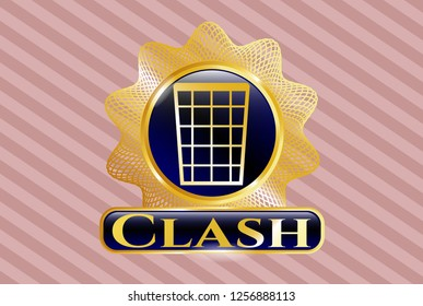 Golden emblem with wastepaper basket icon and Clash text inside