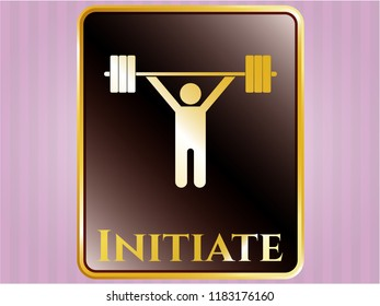 Golden emblem with weightlifting icon and Initiate text inside