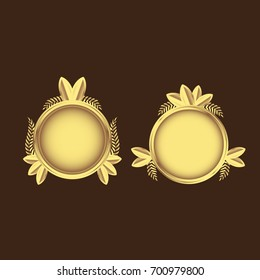 Golden emblems with laurel wreath and leaves. Shiny vector illustration. Isolated.