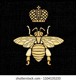Golden embroidery patch bee crown bumblebee wasp Insect embroidery gold royal Fashion t shirt  Hand drawn vector illustration