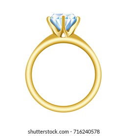 Golden engagement or wedding ring with a big, shiny diamond. Vector realistic illustration isolated on a white background.