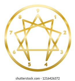 Golden Enneagram of Personality. Sign, logo, pictogram with nine numbers, ring and typical structured figure. Rainbow gradient colored vector illustration on white background.