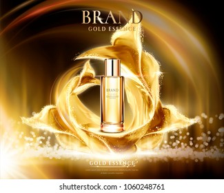 Golden essence ads, glass container with glittering satin on abstract lighting background in 3d illustration