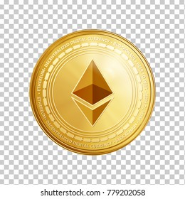 Golden ethereum coin. Crypto currency blockchain coin ethereum symbol isolated on trnsparent background. Realistic vector illustration.
