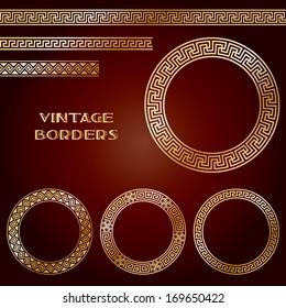Golden ethnic seamless borders and frames. Ornamental shape on dark orange. Arabesque greek pattern background. Vector illustration.