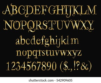 Golden  Fairy Tail  font - Alphabet, Numbers, Symbols - Vector