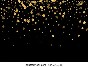 Golden falling stars. Festive gold confetti. Abstract decoration for celebrations.