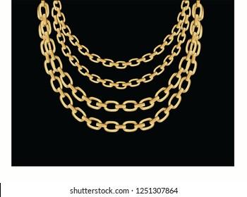 golden fashion chain necklace design