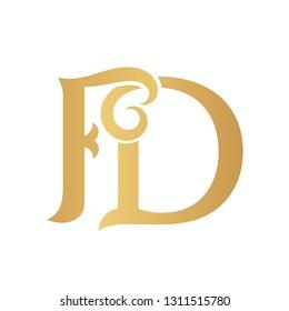 Golden FD monogram isolated in white.