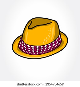 Golden Fedora Hat. Fedora Hat in color.