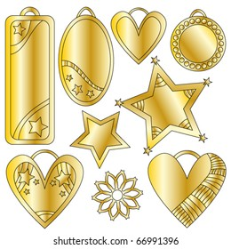 Golden festive vector graphics and tag collection
