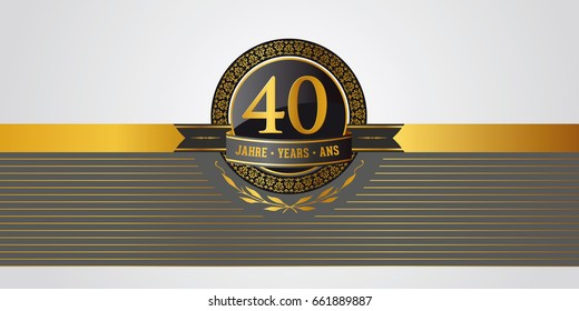 golden festive vector pictogram for 40th anniversary, jubilee or birthday