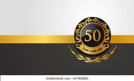 golden festive vector pictogram for 50th anniversary, jubilee or birthday