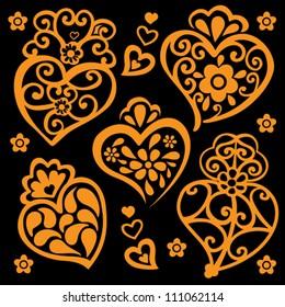 Golden Filigree Hearts