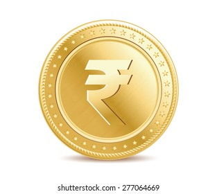 Golden finance isolated rupee coin on the white background