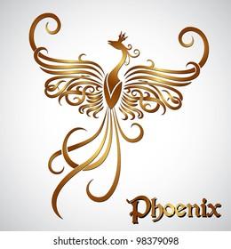 Golden fire phoenix - vector illustration