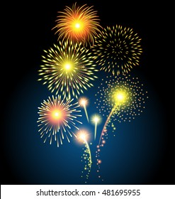 Golden firework for Christmas and Happy New Year or celebration