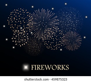 Golden firework show on night sky background. Vector illustration