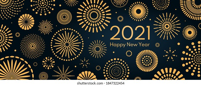 Golden fireworks 2021 New Year vector illustration, bright on dark blue background, text Happy New Year. Flat style abstract, geometric design. Concept for holiday decor, card, poster, banner, flyer.