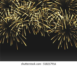 Golden fireworks on black color background with copy space at the under area of image. Design concept for celebration in vector illustration