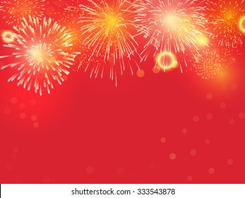 Golden Fireworks on red background to celebrate on chinese new year