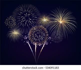 Golden fireworks set on twilight background. Design for celebration event in vector illustration