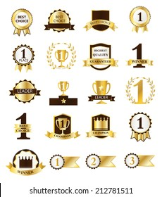 Golden First Place Winner and Best Choice ribbons and badges, vector illustration