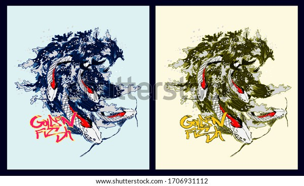 golden fish design for sukajan is mean japan traditional cloth or t-shirt with digital hand drawn Embroidery Men T-shirts Summer Casual Short Sleeve Hip Hop T Shirt Streetwear