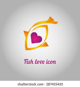 golden fish with heart inside