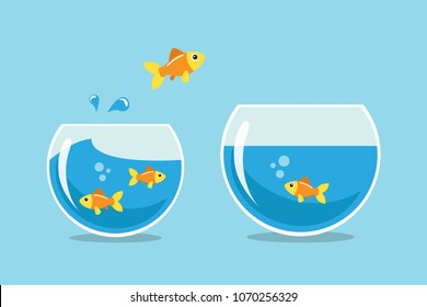 Golden fish jumping to other fishbowl. Vector illustration.