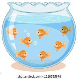 Golden fish in the tank illustration
