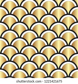 Golden fish-scale seamless pattern. Beautiful oriental tiled trellis of half-circles with shining golden central element. Japanese style grid decorative background. Vector illustration.