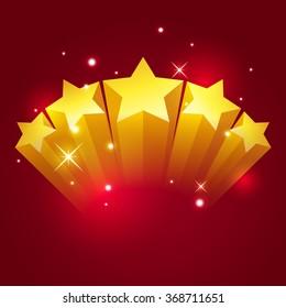 Golden five star, vector art and illustration.
