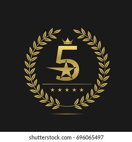 Golden Five stars label. Laurel wreath badge, Hotel apartment sign
