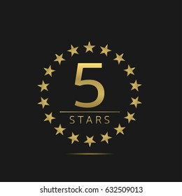Golden Five stars label set. Hotel apartment sign, Luxury quality