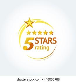 Golden Five stars round logo template. Isolated Vector illustration