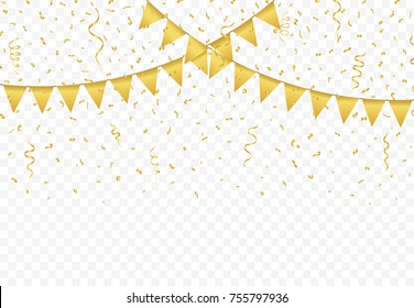 Golden Flags with Confetti And gold Ribbons on transparent background, Festive Illustration of Falling Shiny Glitters, Party celebration, buntings garlands vector
