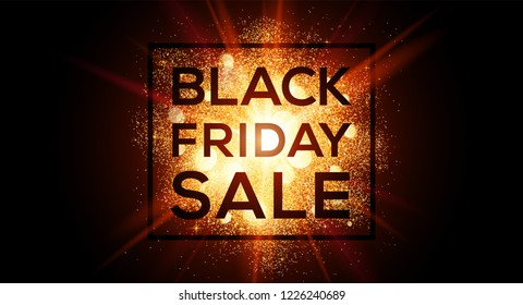 Golden flash glitter splash Black Friday Sale vector horizontal banner. Discount coupon template.
