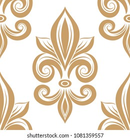 Golden fleur de lis seamless pattern. Vintage royal , heraldic lilly. Ornament. Turkish, Indian motifs. Great for fabric and textile, flyer, banner, business cards, wallpaper, packaging