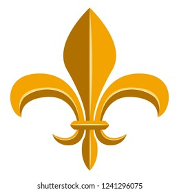 Golden fleur de lys symbol. Vector illustration design