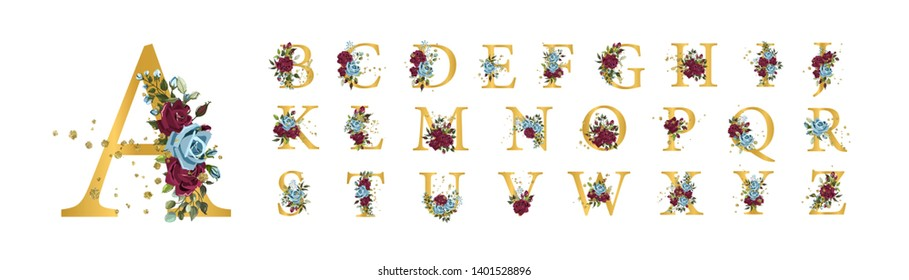 Golden floral alphabet font uppercase letters with bordo navy blue roses flowers leaves gold splatters isolated on white. Vector illustration for wedding, greeting cards, invitations template design