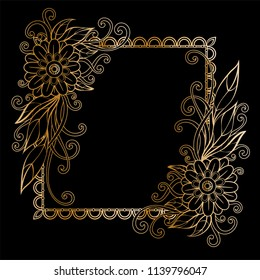 Golden floral frame template. Flowers and plants squarer frame. Design element with space for your text. Vector illustration.