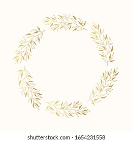 Golden floral herb frame. Vector isolated spring flourish round border. Rustic gold invitation wreath for wedding card.