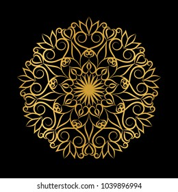 Golden floral mandala. Laser cutting pattern.Vector ethnic  motif.