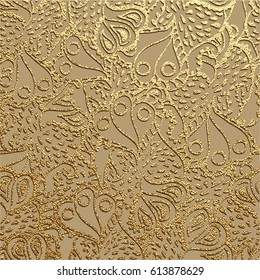 Golden floral ornament. Gold pattern. Vector illustration