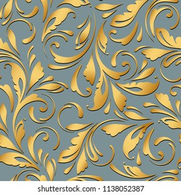 Golden floral pattern. Royal seamless texture in gold flowera for textile, wallpapers, wrapping, paper.