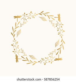 Golden floral round frame. Vector. Isolated.