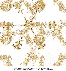 Golden floral wallpaper. Damask background. Golden element on white and beige colors. Gold white and beige floral ornament in baroque style. Pattern.