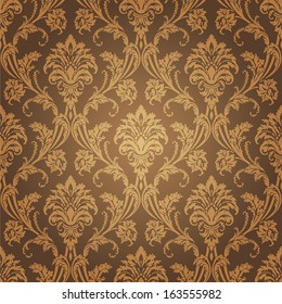 Golden floral Wallpaper. Old style retro wall coverings, pattern and interior design element.