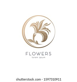 Golden flower, graceful Lily in a circle, emblem, logo. Template for beauty Studio, jewelry store, cosmetics, women's clothing, boutique. Isolated vector illustration
